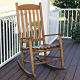 Cheyenne Outdoor Natural Wood Slat Rocking Chair, Brown