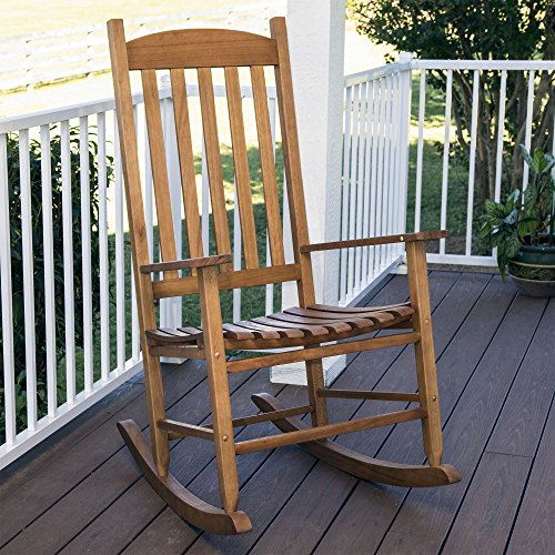 Cheyenne Outdoor Natural Wood Slat Rocking Chair, Brown by Cheyenne