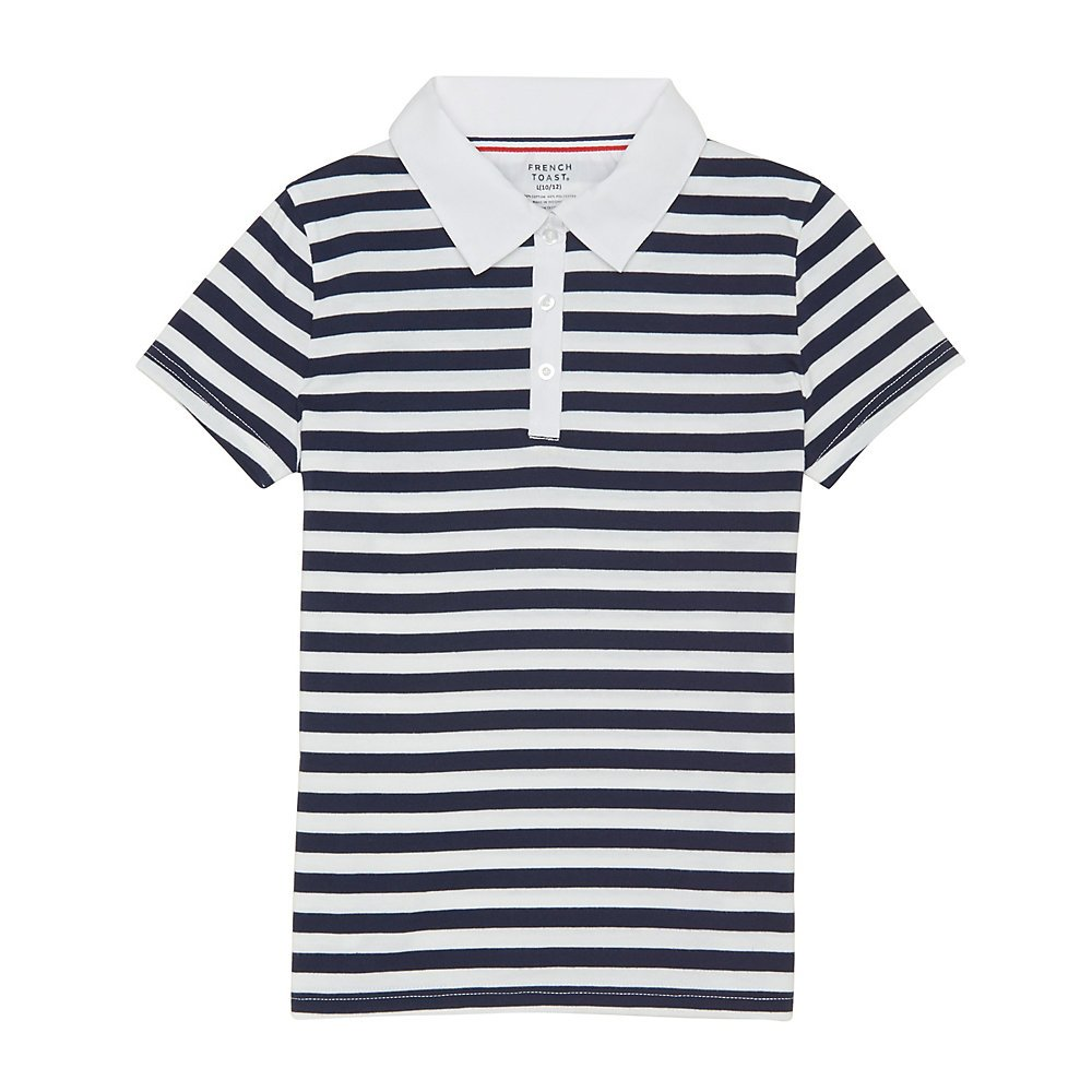 French Toast Girls' Big Short Sleeve Woven Collar Stripe Polo, Navy/White, L (10/12)