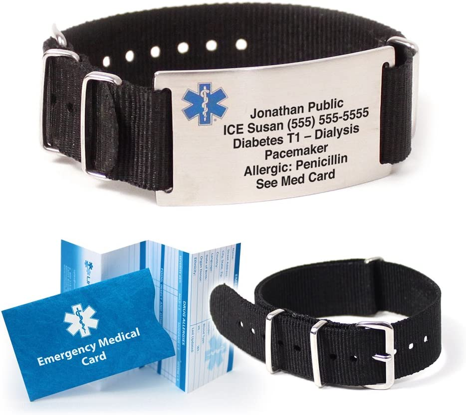 Nato Medical ID Bracelet. Includes up to 18 lines of custom engraving. Choose Your Color Black