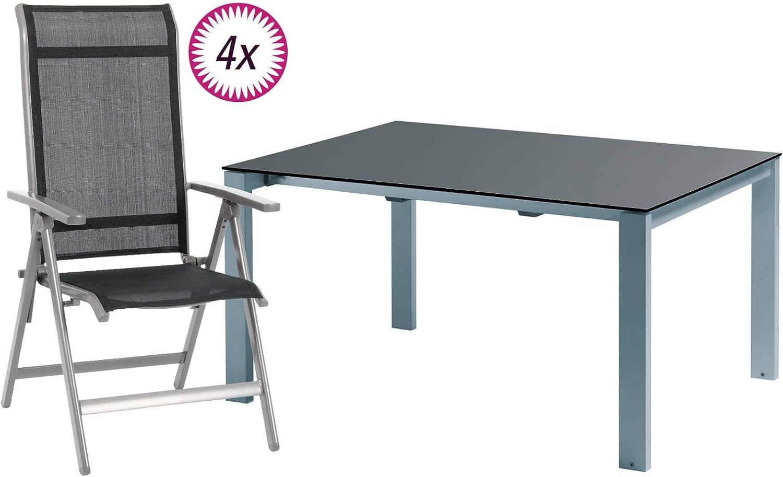 Camping - Juego de muebles de jardín (5 piezas, 4 sillas plegables y una mesa extensible 160-268 (largo) x 100 (ancho) x 75 (alto) cm