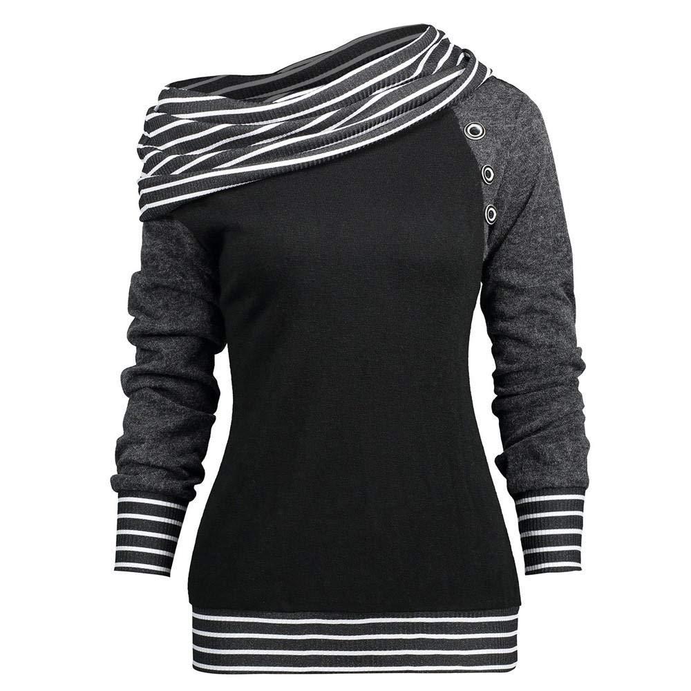 NINGSANJIN Mode Frauen Skew Neck Langarm gestreiften Patchwork Button Sweatshirt Top