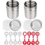 2 Pcs Stainless Steel Powdered Sugar Shaker, 10oz, TuNan Coffee Cocoa Cinnamon Dredges with