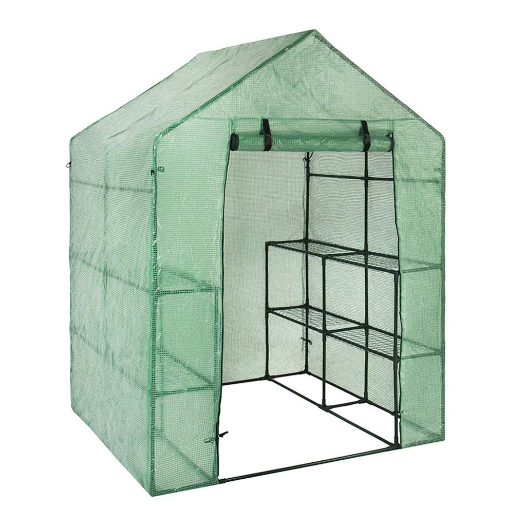 Green TMY Portable Plastic Garden Greenhouse Cover for 2 Layer Plant Stand Mini Greenhouse Outdoor Predect Plants Flower Stand (color   Green)