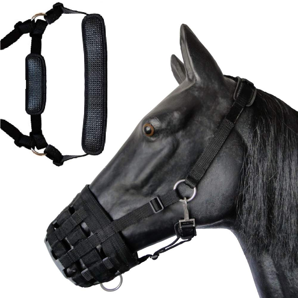 Deluxe Comfort Lined Grazing Muzzle, Heavy Duty Waffle Neoprene with Chin and Neck Pads, (Horse) by Prairie Horse Supply