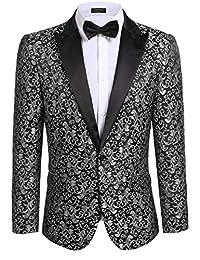 COOFANDY Men's Floral Party Dress Suit Blazer Notched Lapel Jacket One Button Tuxedo