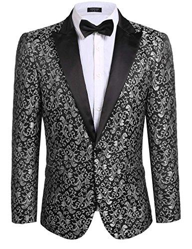 (COOFANDY Mens Floral Party Dress Suit Stylish Dinner Jacket Wedding Blazer Prom Tuxedo,Grey,US XXXL(Chest)