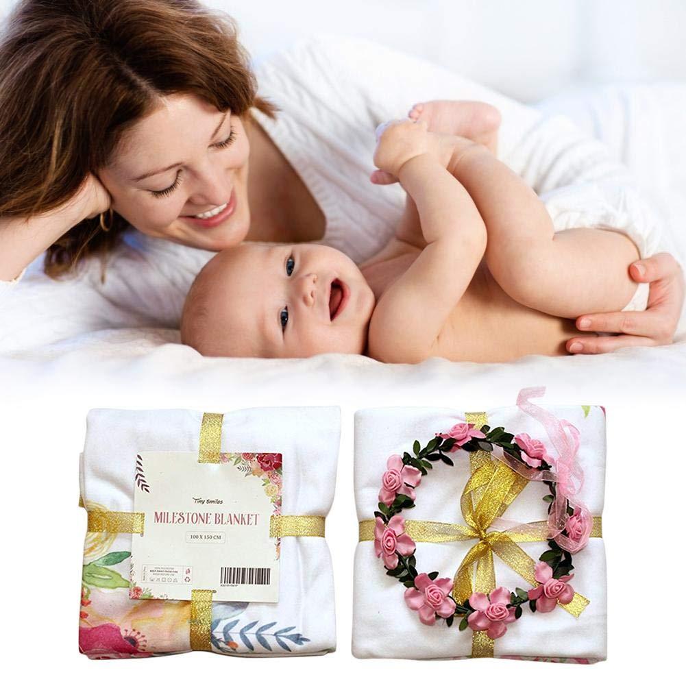 Hualieli Baby Monatlichen Meilenstein Decke Fotografie Hintergrund Speicher Decke Weiche Baby Windel Decke F/ür Neugeborene M/ädchen Jungen Foto Prop