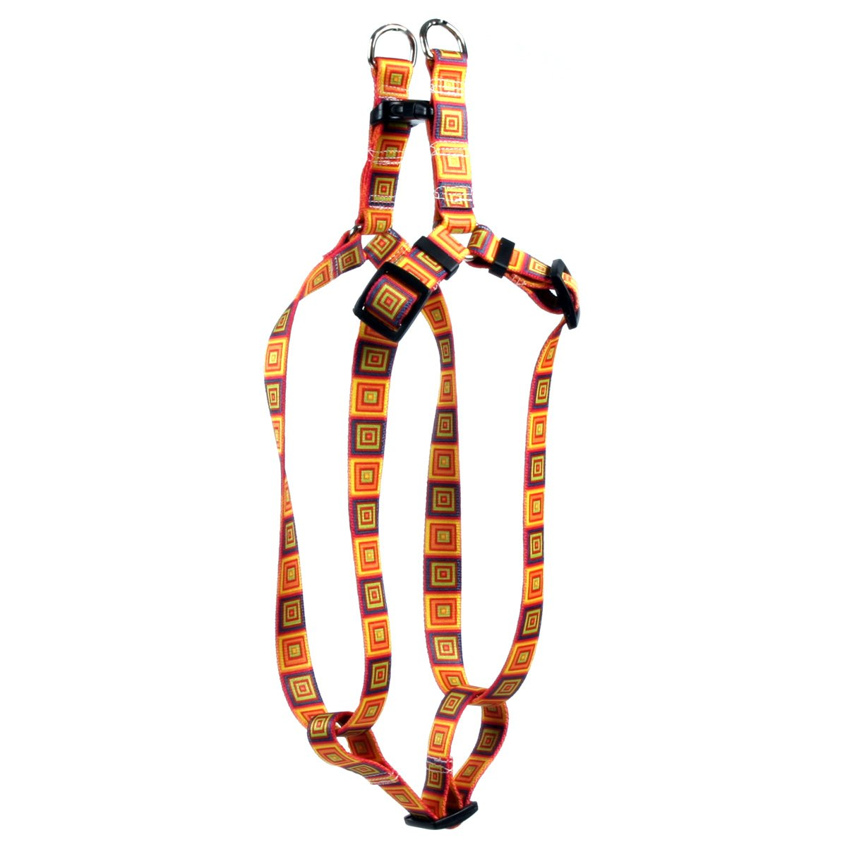 Yellow Dog Design Orange Blocks Step-in Dog Harness, Small-3/4 Wide and fits Chest of 9 to 15'' by Yellow Dog Design