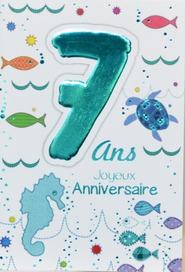 Age Mv 69 2007 Carte Joyeux Anniversaire 7 Ans Enfant Garcon Fille Motif Mer Poissons Tortue Hippocampe Amazon Fr Fournitures De Bureau
