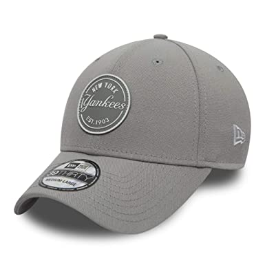 85cbf3ff92ca5 New Era 39Thirty Stretch Rubber Emblem New York Yankees Cap Gray Medium  Large