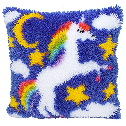 Cover Crochet Pattern - Beyond Your Thoughts Latch Hook Kits for DIY Throw Pillow Cover Sofa Cushion Cover Unicorn with Pattern Printed 16X16 inch, Crochet Needlework Crafts for Kids and Adults