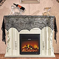 Halloween Decoration 18 x 96 inch Black Lace Spiderweb Mantle Fireplace Scarf Cover for Halloween Thanksgiving and Other Party Festive Supplies.
