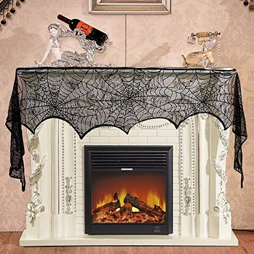Halloween Decoration 18 x 96 inch Black Lace Spiderweb Mantle Fireplace Scarf Cover for Halloween Thanksgiving and Other Party Festive Supplies. for $<!--$8.99-->