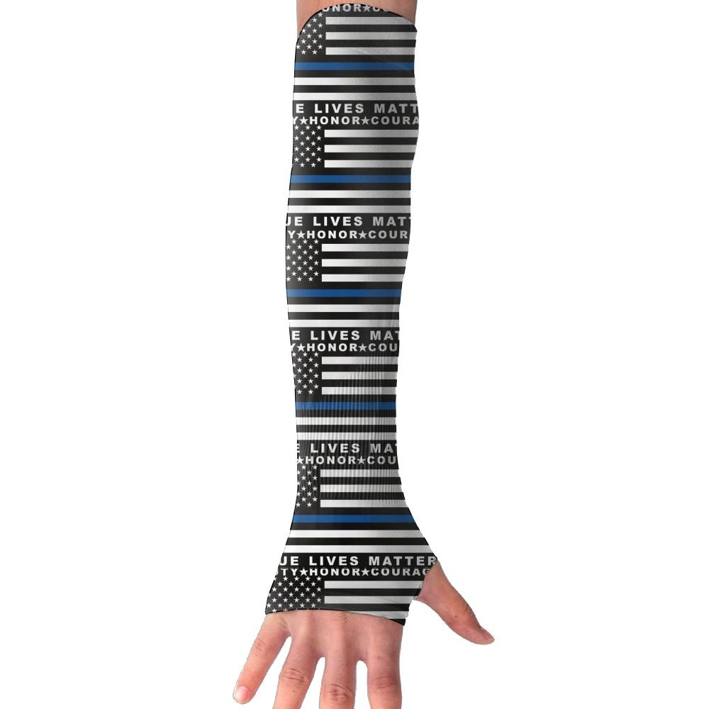 Blue Thin Line US Police Honor Flags Unisex Protection Hand Cover Arm Sleeves Cool Cover Sun For Outdoor Activities 1 Pair