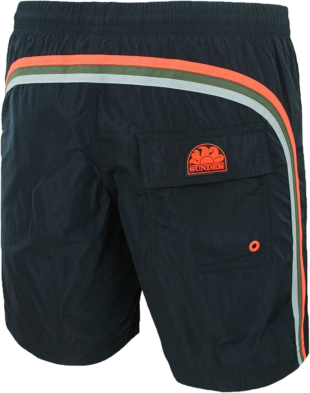 SUNDEK Costume Uomo Original BS//RB Elastic Waist 16 Pantaloncino Shorts Mare Nero Black Pine