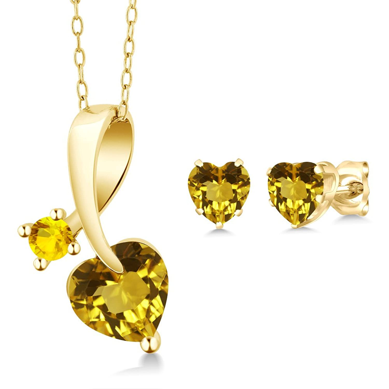 2.10 Ct Heart Shape Yellow Citrine 14K Yellow Gold Pendant Earrings Set
