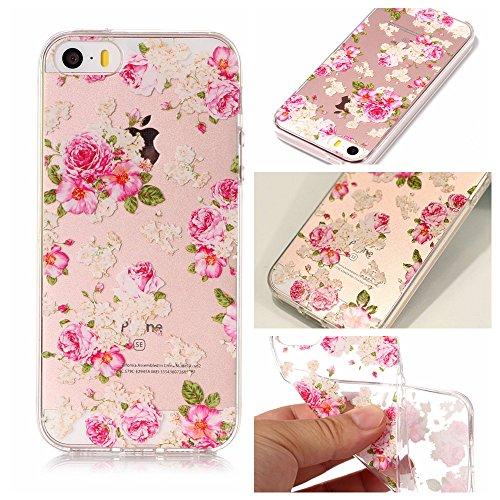iPhone 5 5S SE Hülle , Leiai Modisch Chinesische Rose TPU Transparent Clear Weich Tasche Schutzhülle Silikon Handyhülle Stoßdämpfende Schale Fall Case Shell für Apple iPhone 5 5S SE