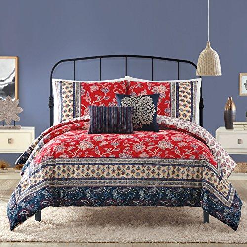 Indigo Bazaar Marbella Comforter Set, Queen, Red