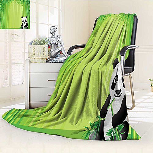 best Throw Blanket Panda in a Bamboo timeating Tropical Asian Theme Green Black White Warm Microfiber All Season Blanket for Bed or Couch