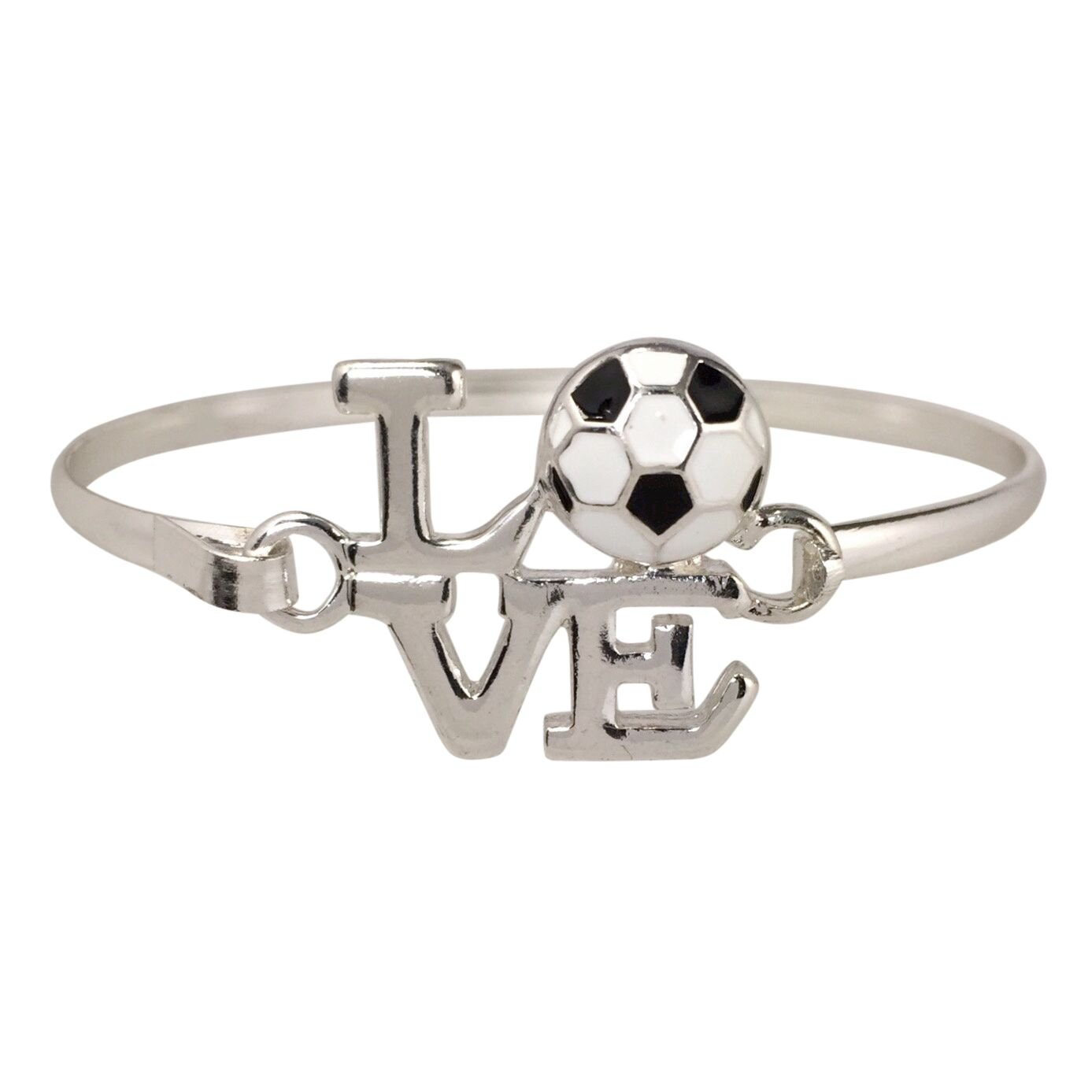 Gypsy Jewels LOVE Sports Theme Silver Tone Hook Bangle Bracelet