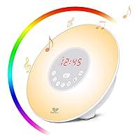 SAVFY Eveil Lumière Lampe de Réveil avec LED 6 réglages Simulateur d'Aube et de Crépuscule et Interface Tactile Horloge Alarme Snooze Radio FM