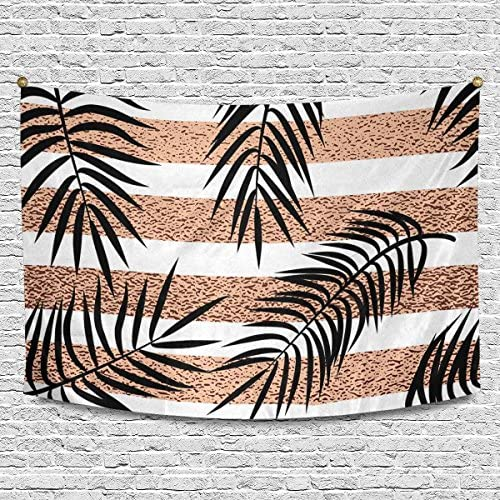 INTERESTPRINT Tropical Palm Leaves on Rose Gold Stripes Wall Hanging Tapestry Art Home Decorations for Living Room Bedroom Dorm Decor, 90W X 60L Inch