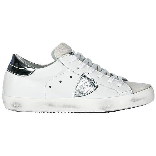 6013ddee6c0c4 Philippe Model Women Paris Sneakers Basic Blanc Silver 5.5 US