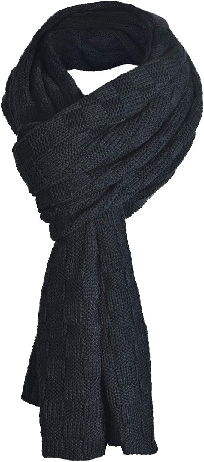 Men/'s Warm Knit Long Soft Warm Scarf Crochet Solid Scarves Wrap