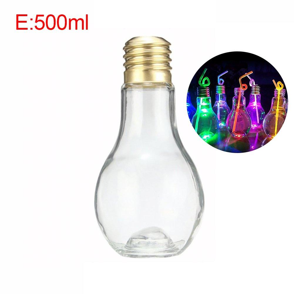 Amazon.com: Clear Plastic Light Bulb Shaped Drink Juice Bottles ...