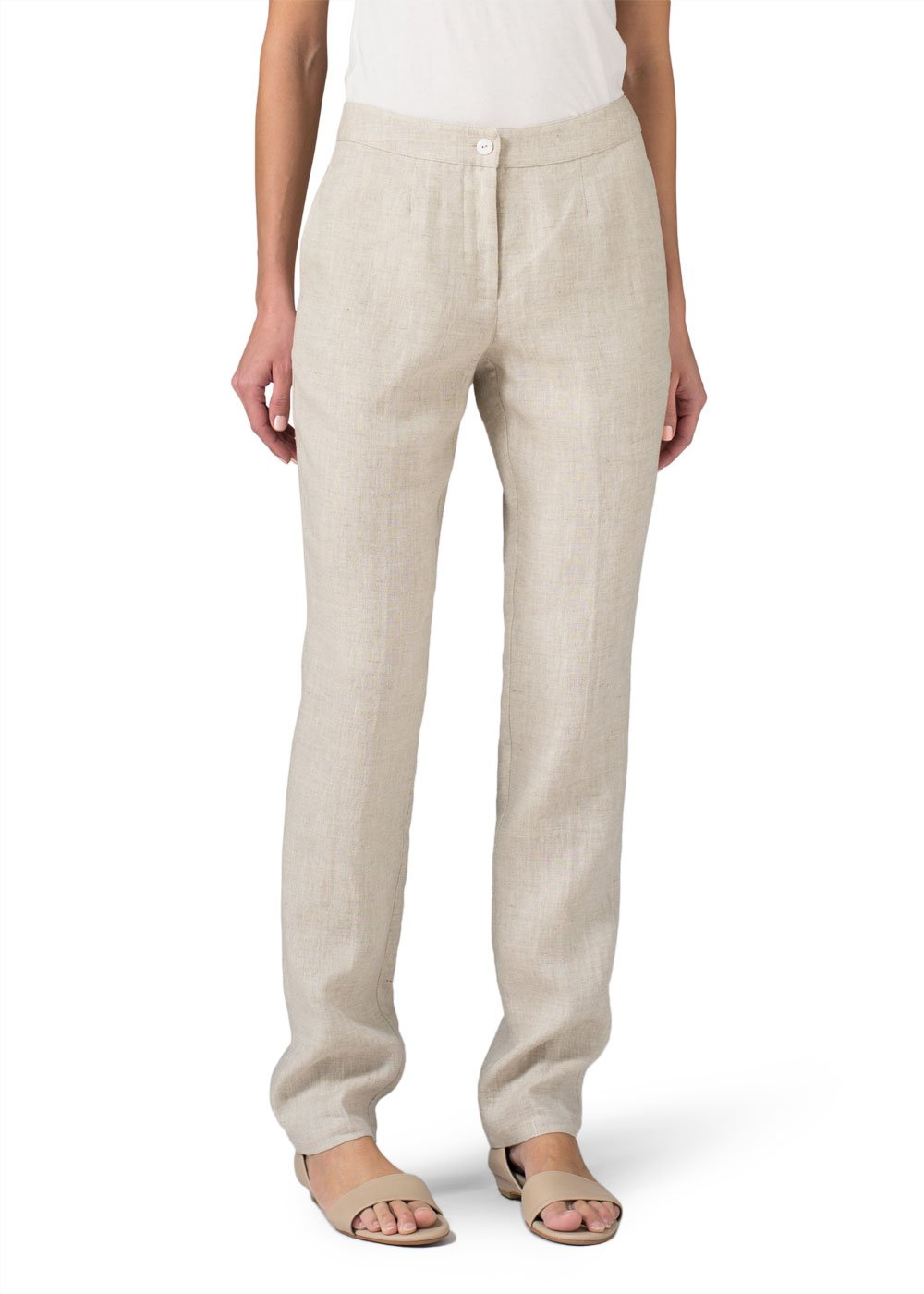 Vivid Linen Long Straight Leg Pants-6-Oat