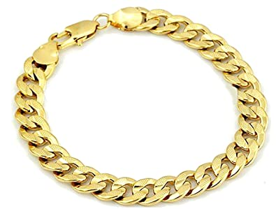 Amazoncom NP JEWELRY 18k Yellow Gold Filled Bracelets for Men 9mm