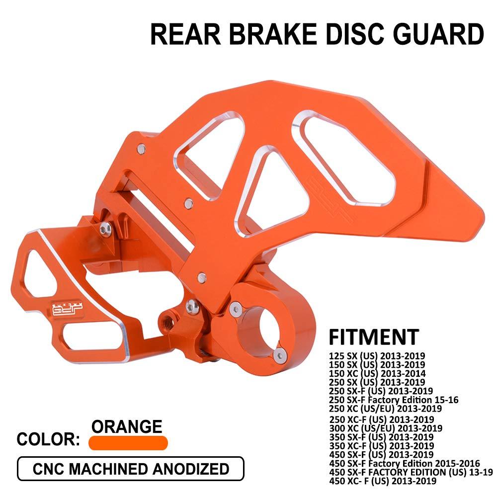 JFG RACING CNC Rear Brake Disc Guard Cover Rear Brake Caliper Guard Kit - Fit For SX125 SX150 XC150 SX250 SX-F250 Factory Edition XC250 XC-F250 XC300 SX-F350 XC-F350 SX-F450 Factory Edition XC-F450