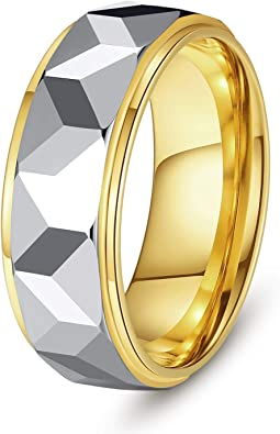 TITANIUM Fashion RING with Gold Plated Edges /& Accent CZ Stones size 13