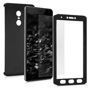 kwmobile Funda para Xiaomi Redmi Note 4 / Note 4X - Carcasa Protectora Completa con [Cristal Templado] - Cover con Protector de Pantalla [Duro]