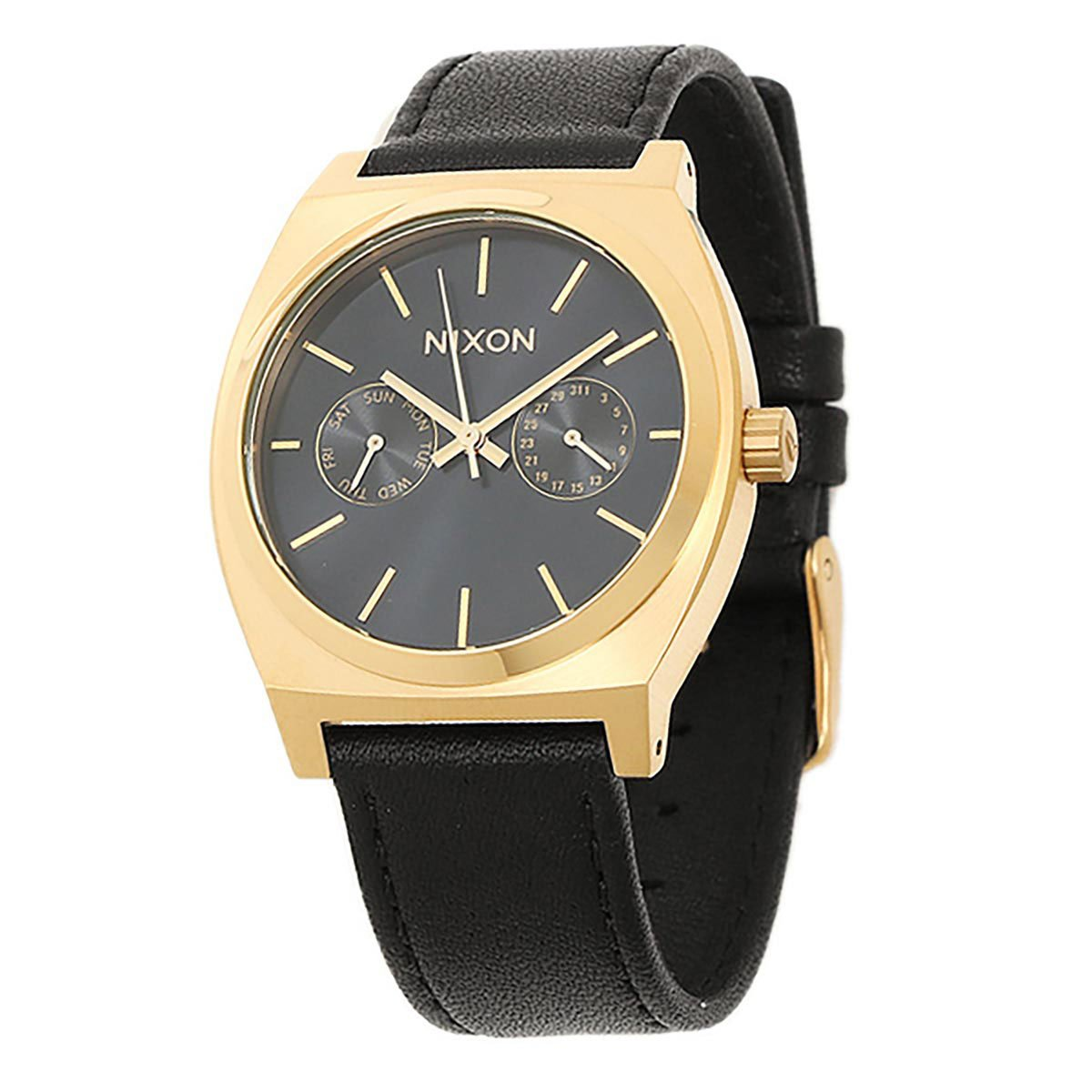 Nixon Time Teller Deluxe Leather Watch Gold Black Sunray by NIXON