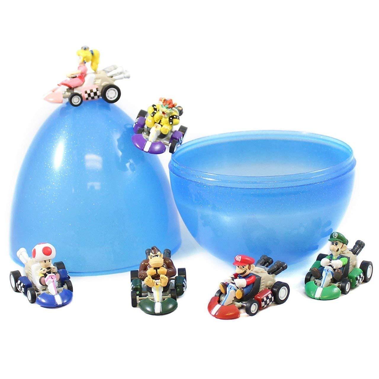 Coolinko 6 Mario Kart Pull Back Cars 2 Inch PVC Toys with 6'' Jumbo Plastic Easter Egg Hunt Party Favor