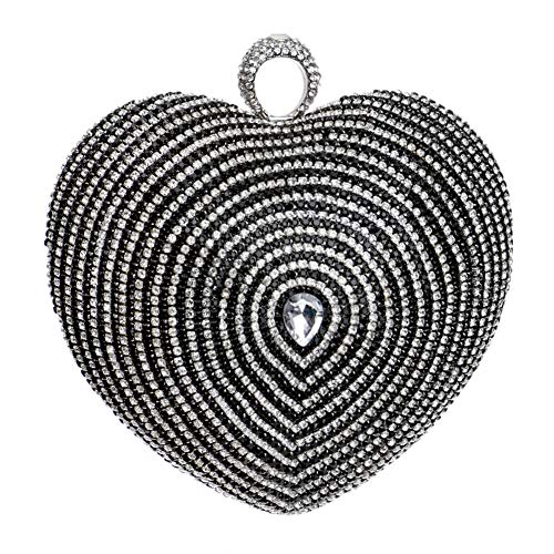 Chain Black Heart Dress Handbag For Purse Wedding Clutches Womens Evening Bags SzqFYSv