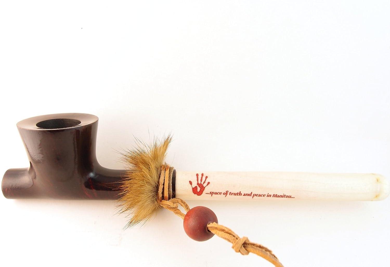 Mr  Brog Lakota Tobacco Pipe - Model No: Indian Peace Pipe Mahogany -  Mediterranean Briar Wood - Hand Made