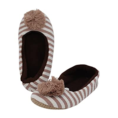 Midwest CBK Woman's Tan Striped Slipper With Poms (Small)