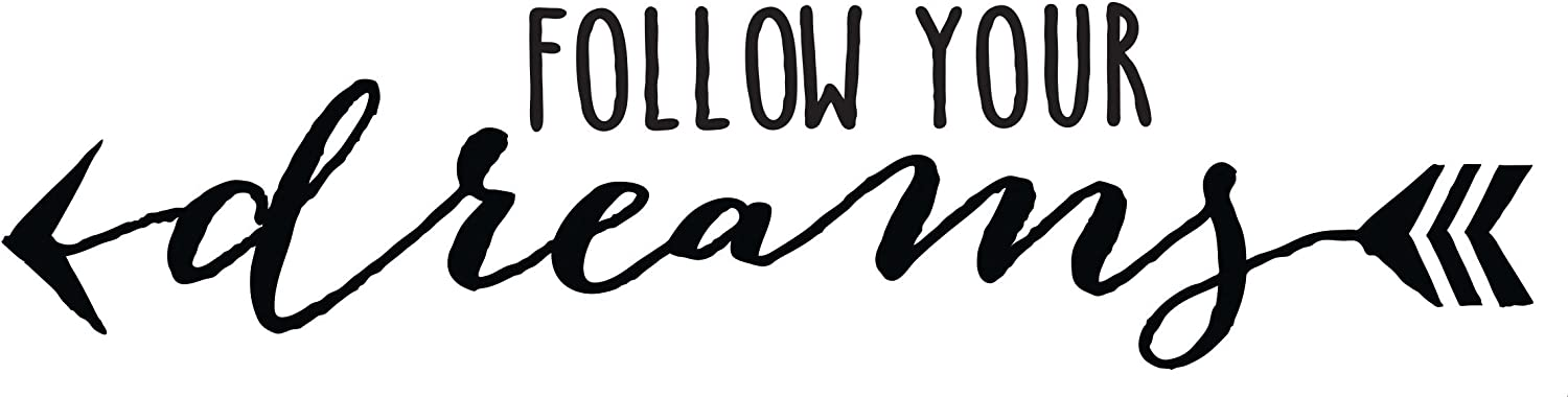 Wall Decor Plus More WDPM3735 Follow Your Dreams Inspirational Wall Decal with Arrows, Black,44x10-Inch, 44x10, Black