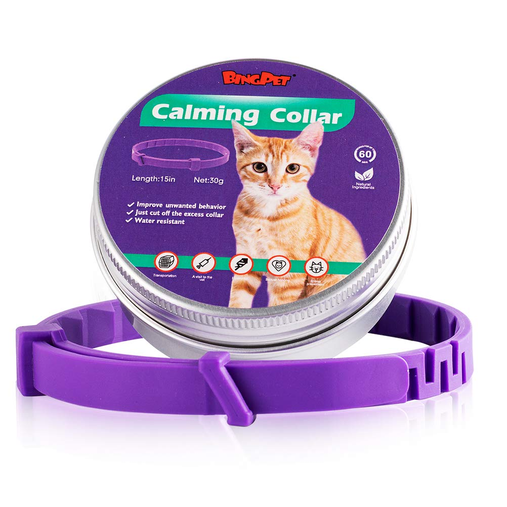BINGPET Calming Collar for Cats – Adjustable Reduce Anxiety Collar for Small Dogs & Cats, Natural Calm Collar up to 15″