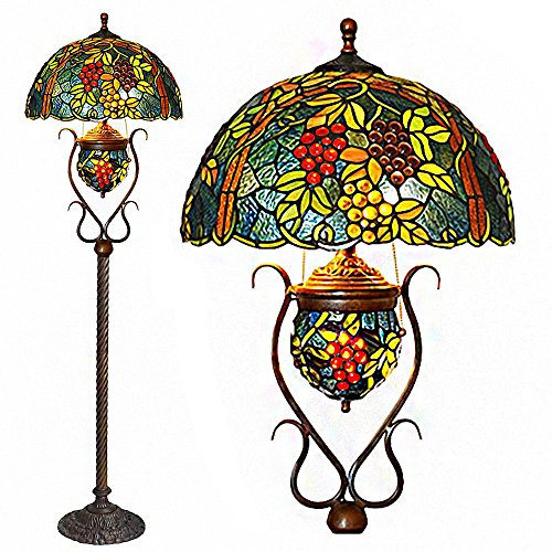Floor Lamps,Magcolor Tiffany Style Stained Glass Raisin Grape Floor Lamp with 18 inches Handmade Lampshade, Double Lit, Suitable for Decorating Room