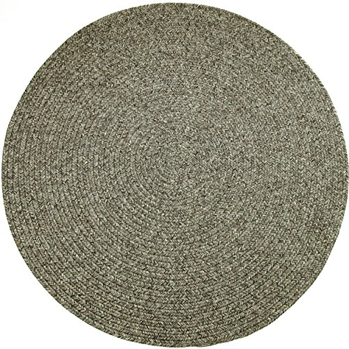 Sabrina Tweed Round Indoor/Outdoor Braided Rug, 4-Feet, - Graphite Round