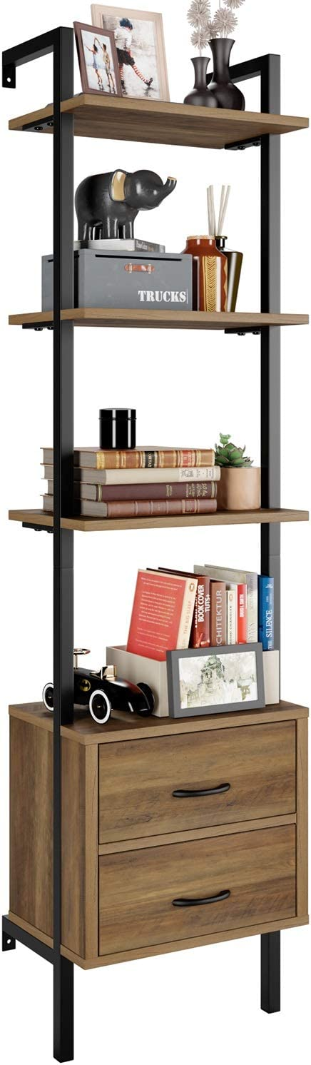 HOMECHO Ladder Bookshelf, 4-Tier Ladder Bookcase with 2 Fabric Drawers, Tall Display Shelves Storage Cabinet for Home Office, Wood and Metal Frame, Brown