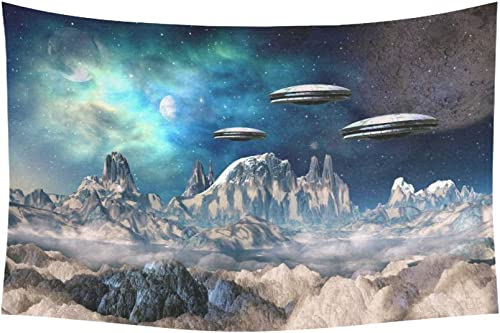 INTERESTPRINT Fantasy Wall Art Home Decor, Alien Planet with Spaceships Tapestry Wall Hanging Art Sets 90 X 60 Inches