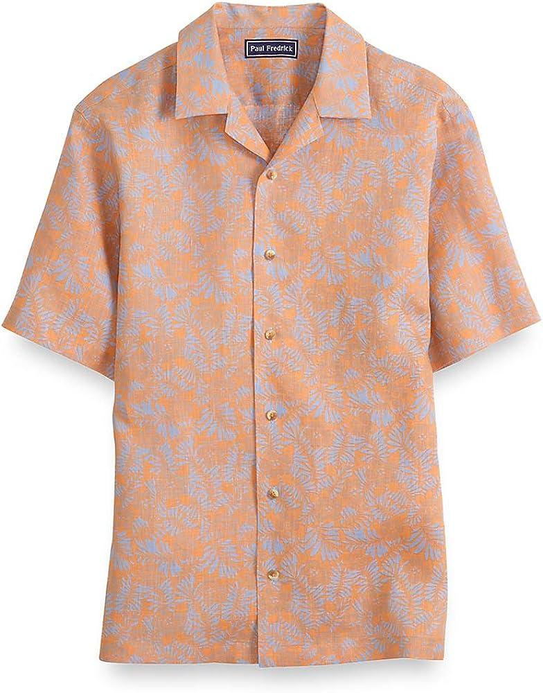 Paul Fredrick Mens Slim Fit Linen Tropical Short Sleeve Casual Shirt