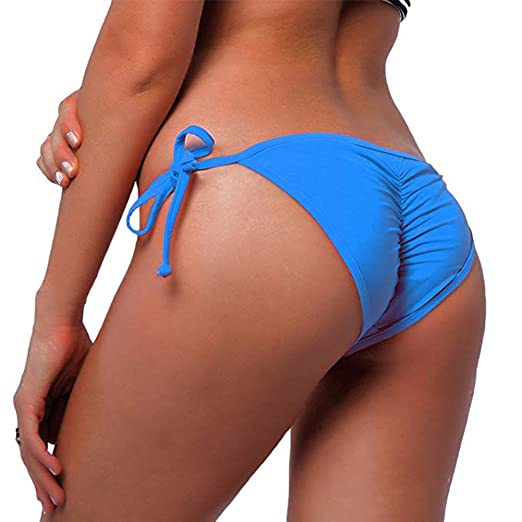 8b3218b684 Amazon.com: KIWI RATA New Womens Swimwear Sexy Tie Side Sweet Heart  Brazilian Bikini Bottom Hipster Swimsuit Beachwear Swimwear (L, Blue):  Clothing