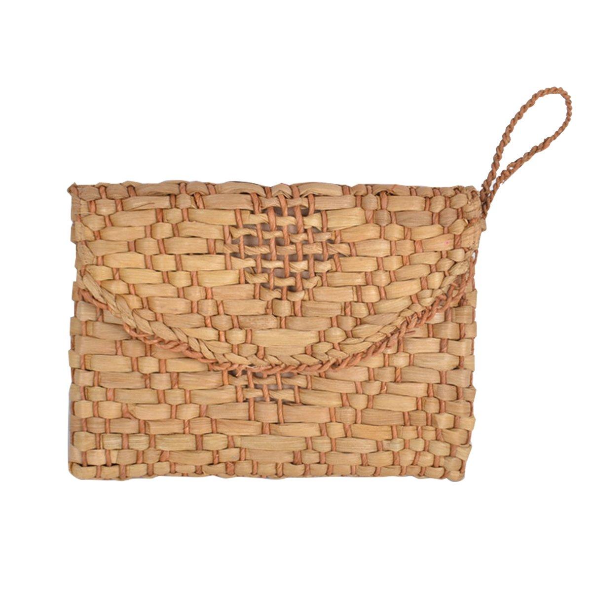 Straw Clutch Purse, JOSEKO Women Wristlet Clutch Handbag Envelope Bag Large Wallet Summer Beach Bag