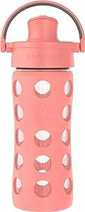 Lifefactory 12oz Active Flip Cap, Cantaloupe Glass Water Bottle